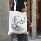 Crooked Moon white tote bag
