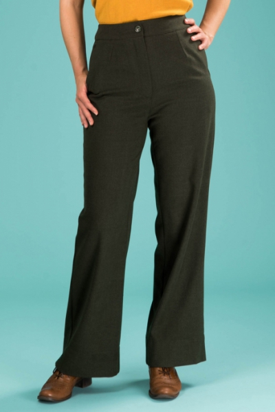 Emmy design The Dapper Dame Pants Deep Forest Combed Twill i gruppen Rea! / Dam / Byxor hos Sivletto - Skylark AB (14201027)