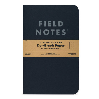 Field Notes Pitch Black 2-pack Large, Dot-Graph i gruppen Bostad & prylar / Kontor och papper hos Sivletto - Skylark AB (FN-35)