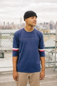 Brixton Jonah 3/4 Sleeve Knit Washed Navy