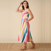 Emily and Fin Margot Rainbow Stripe Midi Dress