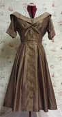 Vtg 50s Brown Syd Dress size M