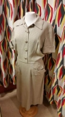 Vintage 40s 50s Brown Day Dress w 30
