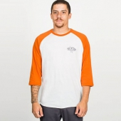 Brixton Borrego 3/4 sleeve tee white/burnt orange