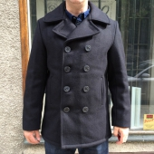 Schott Classic 32 Oz. Melton Wool Navy Pea Coat