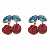 Collectif clothing red cherry diamante earrings