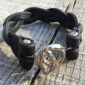 Lone Wolf Leather Anchor Joint Braided Bracelet Black