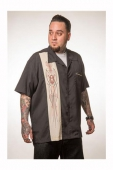 Steady V8 Pinstripe button up black