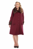 Collectif Hermione Plain Swing Coat Burgundy