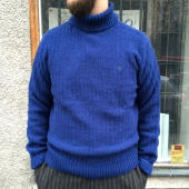 Penguin Roll Neck Reverse Tuck Stitch Medieval Blue