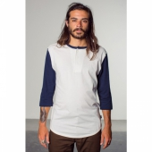 Brixton Adam 3/4 Sleeve Henley White/Blue