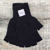 Upstate Stock Navy Melange Fingerless Ragg Wool Gloves