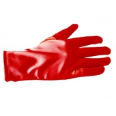 Collectif Satin Bracelet Length Gloves red