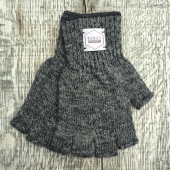 Upstate Stock Charcoal Fingerless Ragg Wool Gloves