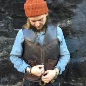 ELMC Biker Flight Vest Vintage Brown