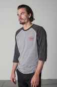 Brixton Burnout 3/4 tee heather grey/washed black