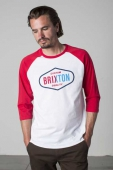 Brixton Oakland 3/4 tee white/red