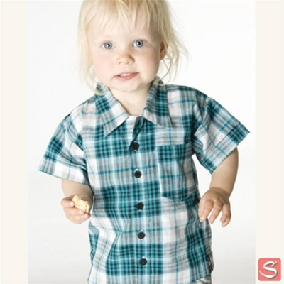 Baby checked shirt turqoise i gruppen Udda-disk / Barn hos Sivletto (w1914)