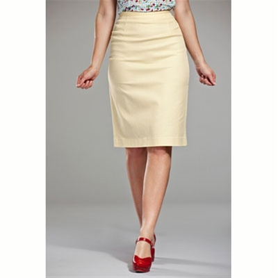 Emmy Design The pretty pencil skirt yellow waffled i gruppen Udda-disk / Dam / Kjolar hos Sivletto (w6572)