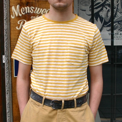 Armor-Lux Striped yellow linen t-shirt i gruppen Herr / T-shirts hos Sivletto (w9041)