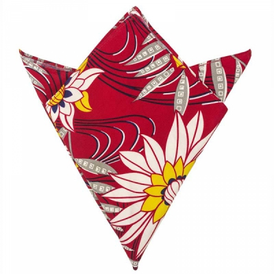 Trashy Diva Pocket Square Red Waterlilies i gruppen Herr / Accessoarer hos Sivletto (w9885)