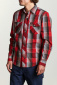 Brixton Wayne L/S Woven Shirt Red/Grey