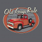 Old Guys Rule Red Truck Tee Charcoal